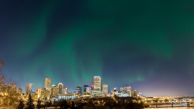 Northern Lights over Downtown